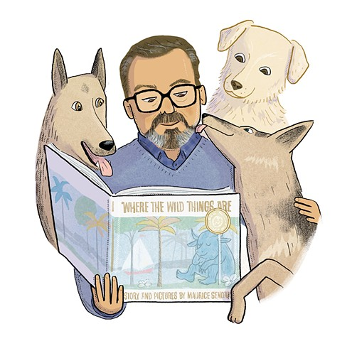 Maurice Sendak, Sendak with his dogs, Violet Lemay, Artists and Their Pets, kidlit artist, middlegrade artist, children's book illustrator, picture book illustrator