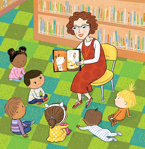 Violet Lemay, children's book illustrator, Library Babies, story time, reading, library, kids at library