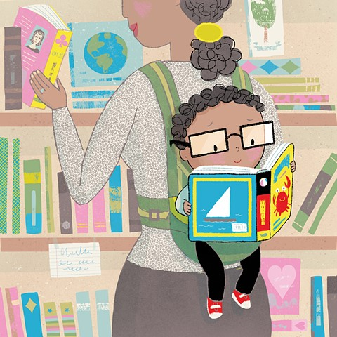 Violet Lemay, illustration, illustrator, children's book illustrator, diverse books, baby, bookstore, baby reading, baby with book