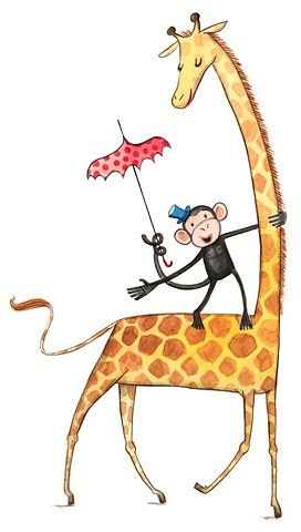 monkey, giraffe, circus, animal illustration, animals, whimsical animal illustration