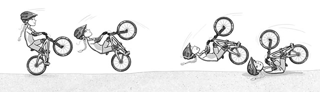 Violet Lemay, kidlit illustrator, art for tweens, wheelie, mountain bike, shred girls, fearless, strong girls
