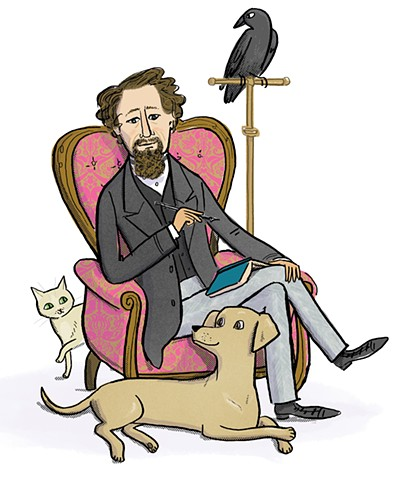 Charles Dickens, Violet Lemay, Artists and Their Pets, kidlit artist, middlegrade artist, children's book illustrator, picture book illustrator