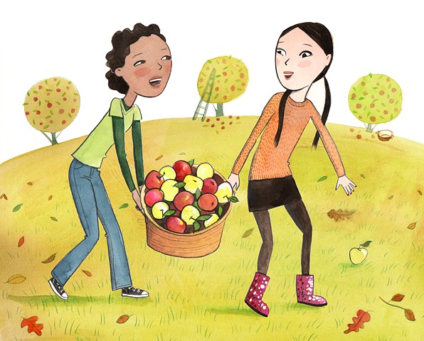 tween girls, apple picking, friends, BFF, autumn, fall, upstate New york, watercolor, smiling girls