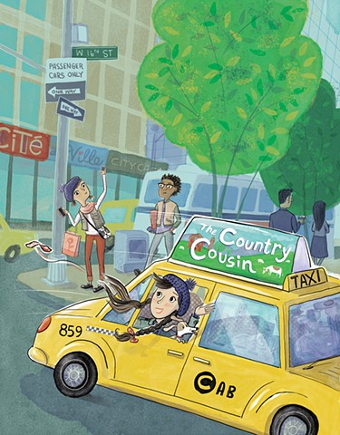 NYC, New York City, tween, taxi, teen girls, city kids, Violet Lemay, country cousin, YA, book illustration