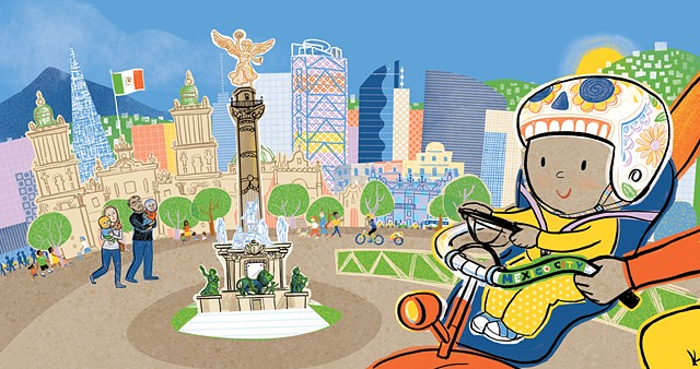 Mexico City, travel, global village, racial unity, luchador mask, cyclist, baby, Violet Lemay