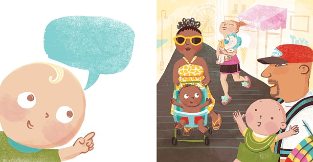Violet Lemay, children's book illustrator, beach babies, kidlitartist, adorable illustration, board walk