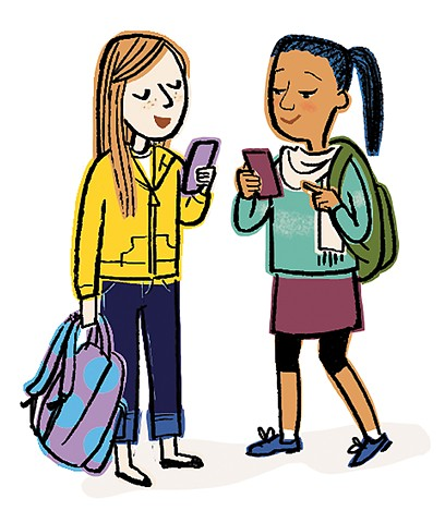 Violet Lemay, illustration, tween, YA, book illustration, character, kids, girls, bus stop, middle school, waiting for the bus