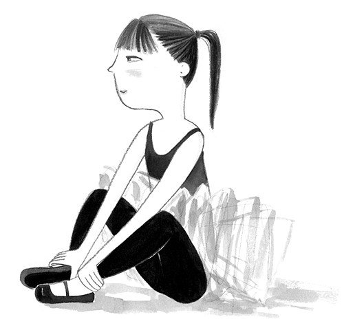 ballerina, tween girl, ballet, tutu, ballet class, ballet student, black and white illustration, illustration