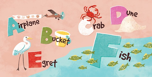Violet Lemay, children's book illustrator, beach babies, kidlitartist, adorable illustration, ABCs
