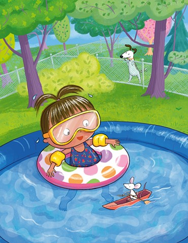 Violet Lemay, adorable, children's book illustrator, girl in pool, cute mouse, kidlitart, mbartists