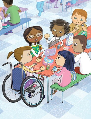 Violet Lemay, Yes I Can, wheelchair, Magination Press, spina bifida, disablilty, strong kids, strong girl, illustration, kidlit, cookies, school cafeteria, friends, inclusion
