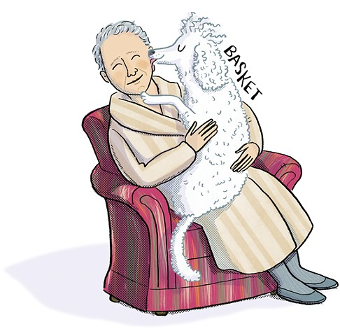 Gertrude Stein, Stein's dog Basket, Stein's poodle, poodle, Violet Lemay, book illustration, middle grade biography