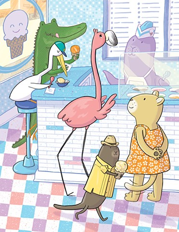 children's book illustration, Violet Lemay, Highlights High Five, Doña Rosa, flamingo