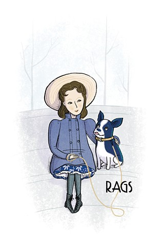 Dorothy Parker, Dorothy Parker as a girl, Dorothy Parker's dog Rags, Violet Lemay, illustration, Writers and Their Pets