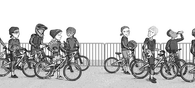 Violet Lemay, illustration, kidlit illustrator, art for tweens, Ali's Rocky Ride, strong girls, mountain bike
