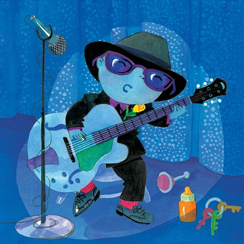 baby, blues, Chicago jazz club, guitar, stage, musician, blues guitarist, watercolor, children's book illustration