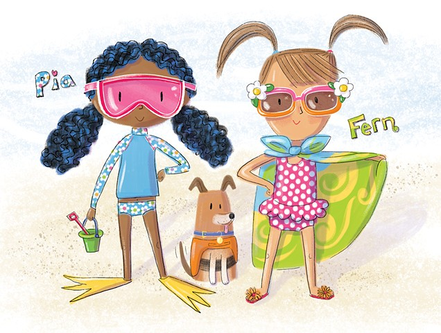 Violet Lemay, children's book illustrator, picture book illustrator, character design, beach girls, kids at the beach
