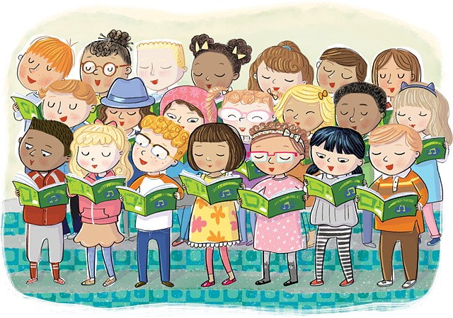 Violet Lemay, children's book illustrator, picture book, kidlitart, choir, kids singing, youth choir, middlegrade, middle grade, picture book