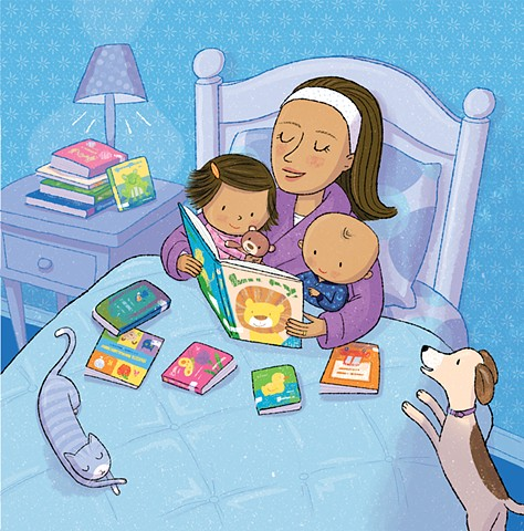 Violet Lemay, children's book illustrator, read, kids reading, mom reading to baby, Library Babies