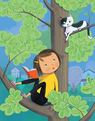 Violet Lemay, children's book illustrator, picture book illustration, kidlitart, cat, girl in tree, climbing a tree, girl reading