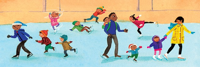 Violet Lemay, children's book illustrator, Chicago baby, picture book, baby illustration, ice skating, skaters