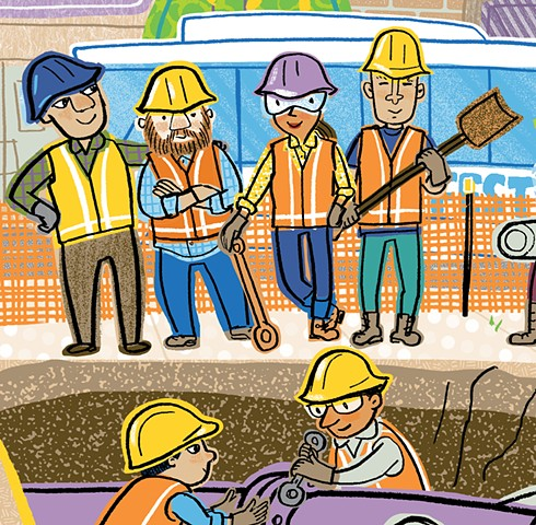 Violet Lemay, illustration, How a City Works, children's book illustrator, city, construction workers