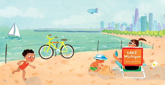 Violet Lemay, children's book illustrator, Chicago baby, picture book, baby illustration, Lake Michigan