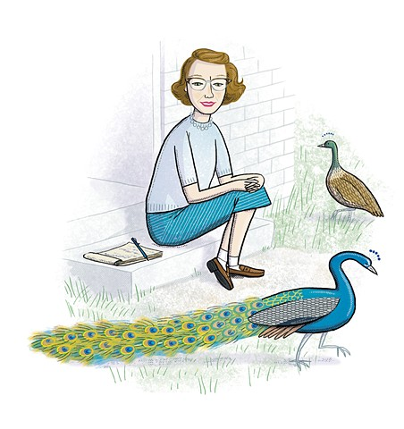 Flannery O'Connor, peacocks, O'Connor's peacock, Violet Lemay, middle grade biography, Writers and Their Pets, peafowl, peahen
