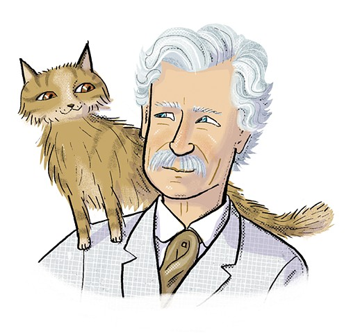 Mark Twain, Twain's cat, Violet Lemay, illustration, middle grade biography, Writers and Their Pets