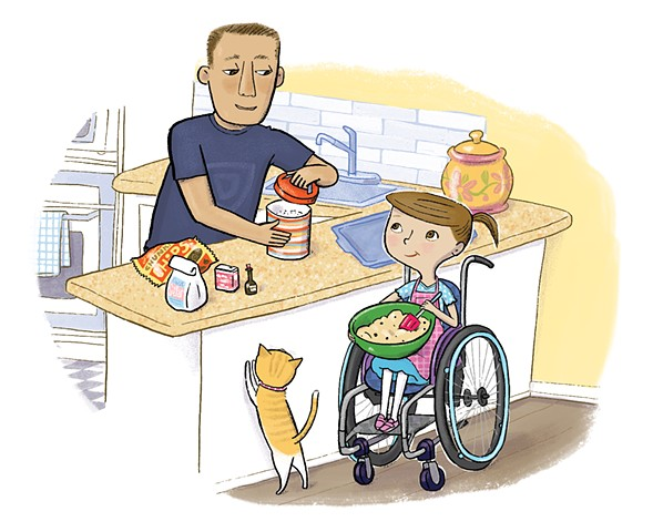 Violet Lemay, Yes I Can, wheelchair, Magination Press, spina bifida, disablilty, strong kids, strong girl, illustration, kidlit, kids in the kitchen, cooking for kids, cat