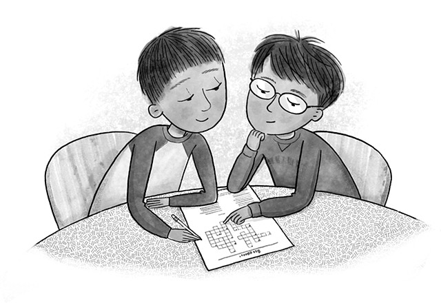 Violet Lemay, children's book illustrator, middle grade illustrator, black and white illustration, brothers, crossword, problem solving, kids helping kids