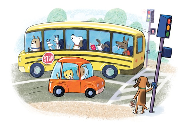 Violet Lemay, children's book illustrator, art for children, dogs in school bus, cats, dogs