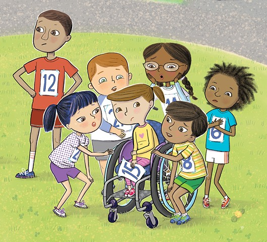 Violet Lemay, children's book illustration, book about wheelchair, diverse book, children's book illustrator, picture book artist, hurt feelings, sensitivity for kids