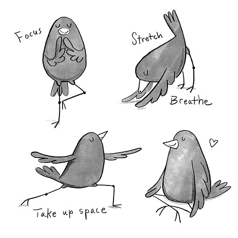 Violet Lemay, yoga, children's book illustrator, yoga birds, birds doing yoga, yoga cartoon