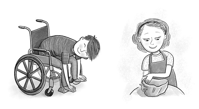Violet Lemay, children's book illustrator, middle grade illustrator, black and white illustration, wheelchair, potter, kid doing pottery, boy in wheelchair stretching