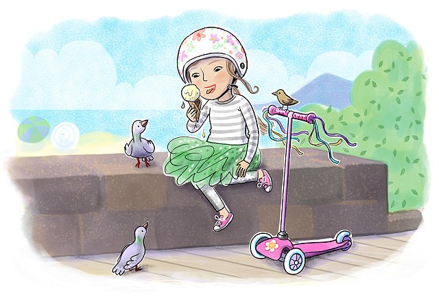 ice cream, little girl, kid lit, children's book illustration, Violet Lemay, scooter