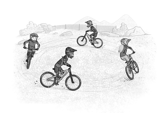 Violet Lemay, children's book illustrator, middle grade illustrator, black and white illustration, mountain bikes, tweens on bikes, Shred Girls