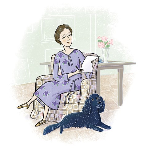 Virginia Woolf, Pinka, Violet Lemay, Writers and Their Pets, children's book illustration, biography for kids, setter, dog, middle grade