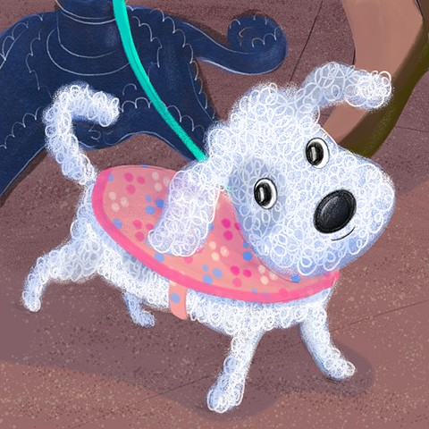 Violet Lemay, children's book illustrator, kidlitart, kidlit, picture book illustration, schnoodle, poodle, dog at cafe, sidewalk dog, dog illustration