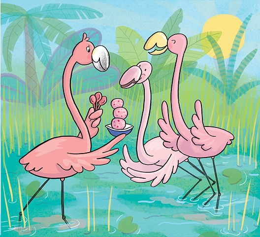 Violet Lemay, children's book illustrator, Highlights, Doña Rosa, flamingo, book illustration