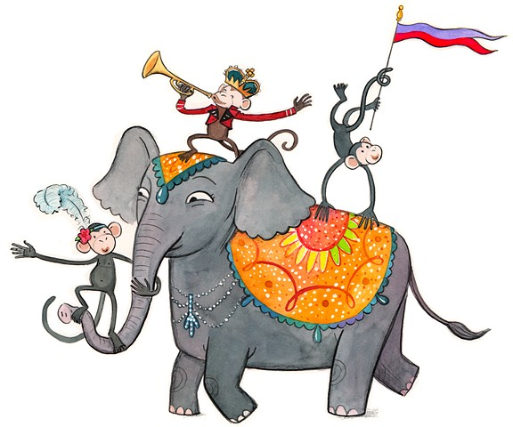 monkey, elephant, counting book, whimsical animal illustration, animal art, fun animal illustration
