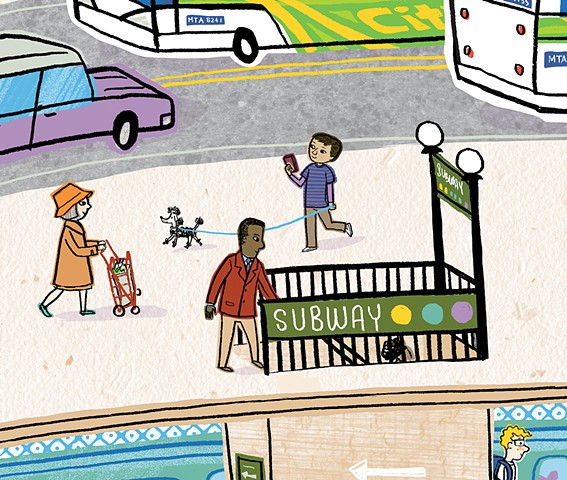 Violet Lemay, How a City Works, children's book illustration, city illustration, city art, city book for kids, subway, kidlitart, illustration, city, mass transit