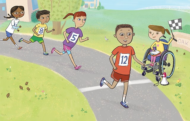 Violet Lemay, Yes I Can, wheelchair, Magination Press, spina bifida, disablilty, strong kids, strong girl, illustration, kidlit, race, spring, running, healthy kids, inclusion