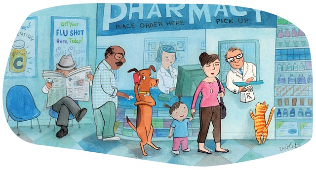 pets, cat, dog, pharmacy, illustration, Violet Lemay, USA Today, Pet Guide