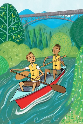 canoe, teen, tween illustration, YA, kid lit, camping, Blue Ridge Mountains, Violet Lemay