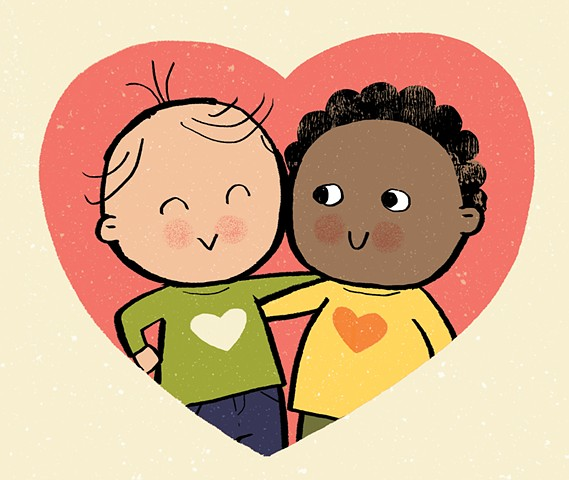 Violet Lemay, children's book illustrator, hug, diverse kids, healthy, love