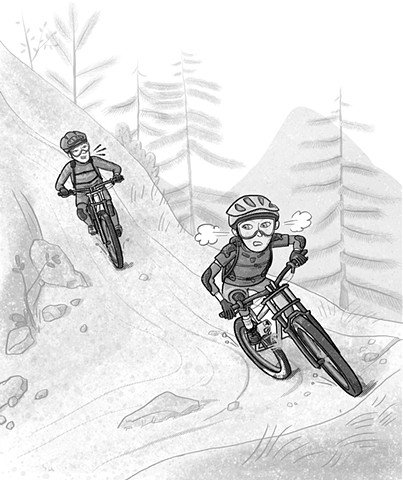 Violet Lemay, illustration, kidlit illustrator, mountain bike, shred girls, art for tweens, Ali's Rocky Ride, strong girls