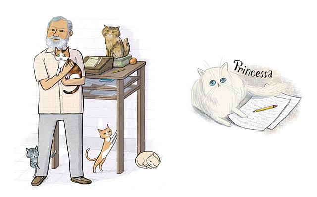 Ernest Hemingway, Hemingway and his cats, Violet Lemay, Artists and Their Pets, kidlit artist, middlegrade artist, children's book illustrator, picture book illustrator