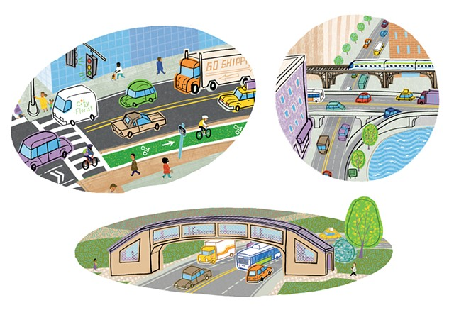 Violet Lemay, How a City Works, children's book illustration, city illustration, city art, city book for kids, illustration, city, transportation, roads and bridges, bike lane