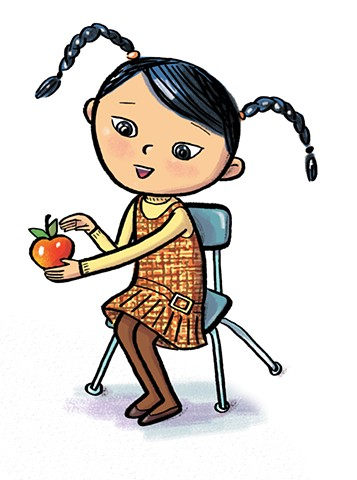 Violet Lemay, children's book illustration, textbook illustration, girl with apple, school girl, Asian girl, children's book illustrator, kidlit artist